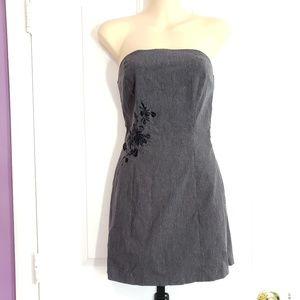 Express Womens Mini Dress Gray Strapless Stretch B